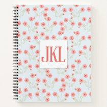 "Coral Flower Pattern  8.5"" x 11"" Spiral Notebook"