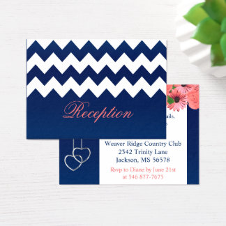 Coral Flowers and Navy Blue Business Card