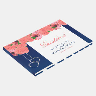 Coral Flowers and Navy Blue Guest Book