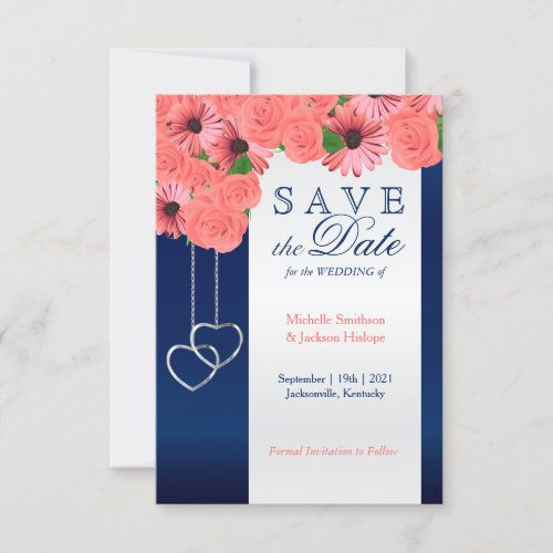 Coral Flowers and Navy Blue - Save the Date