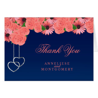 Coral Flowers and Navy Blue - Thank You Card