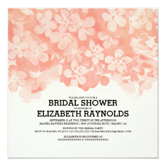 Coral Flowers Bridal Shower Invitations Announcements