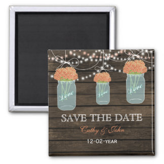 coral flowers in a mason jar save the Date Refrigerator Magnets