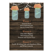 coral flowers in a mason jar wedding menu cards