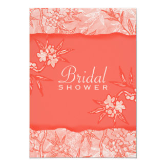 Coral Flowers in Bloom 5x7 Paper Invitation Card