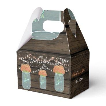 coral flowers mason jar wedding favor box