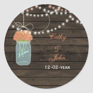 coral flowers mason jar wedding favor stickers