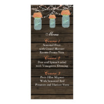 coral flowers mason jar wedding menu cards