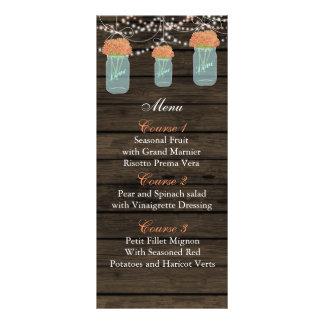 coral flowers mason jar wedding menu cards
