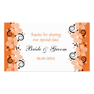 Coral Flowers Wedding Favor Gift Tags Thank You Business Card Template