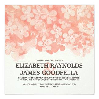 Coral Flowers Wedding Invitations Personalized Invite