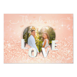 Coral Folded Heart Photo Wedding - Thank You Card