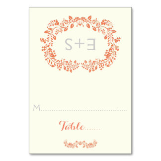Coral foliage frame & initials wedding place card table cards