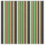 [ Thumbnail: Coral, Forest Green, Beige & Black Stripes Fabric ]