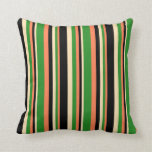[ Thumbnail: Coral, Forest Green, Beige & Black Stripes Pillow ]