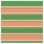 [ Thumbnail: Coral, Forest Green & Beige Stripes Fabric ]