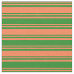[ Thumbnail: Coral & Forest Green Lined/Striped Pattern Fabric ]
