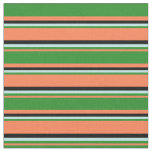 [ Thumbnail: Coral, Forest Green, Turquoise & Black Pattern Fabric ]