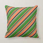 [ Thumbnail: Coral, Forest Green, Turquoise & Black Pattern Throw Pillow ]