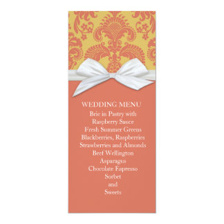 Coral French Country Style Damask Wedding Menu 4x9.25 Paper Invitation Card