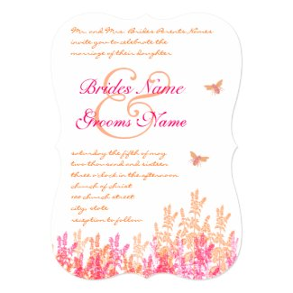 Coral & Fuchsia Wildflower Wedding Invites