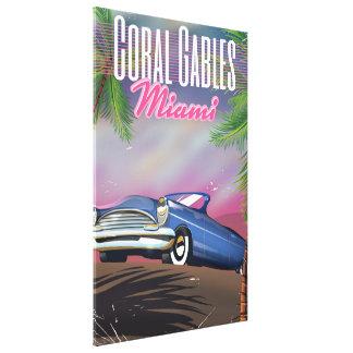 Coral Gables Florida USA 80s travel poster Canvas Print