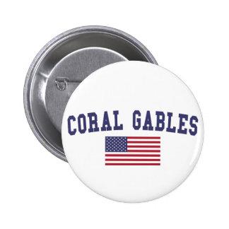 Coral Gables US Flag Pinback Button