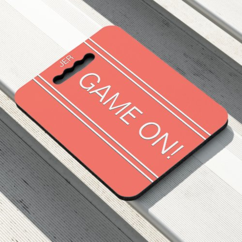 Coral GAME ON Quote Monogrammed Stadium Sports Seat Cushion