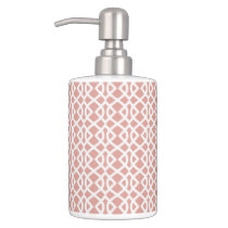 coral geometric pattern bathroom set