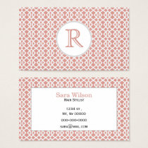 coral geometric pattern business card
