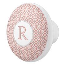 coral geometric pattern ceramic knob