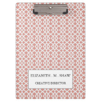 coral geometric pattern clipboard