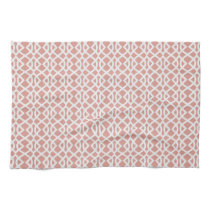 coral geometric pattern kitchen towel