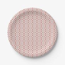 coral geometric pattern paper plate