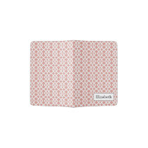 coral geometric pattern passport holder
