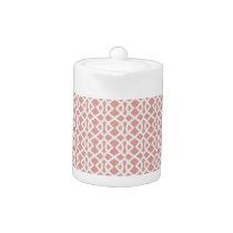 coral geometric pattern teapot
