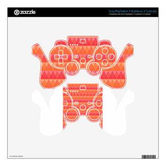 Coral geométrico moderno del modelo del triángulo mando PS3 skins