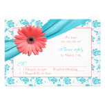 Coral Gerber Daisy Aqua Damask Floral Wedding RSVP Personalized Announcements