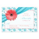 Coral Gerber Daisy Aqua Damask Floral Wedding RSVP 3.5x5 Paper Invitation Card
