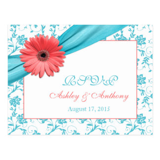 Coral Gerber Daisy Aqua Damask Floral Wedding RSVP Postcard