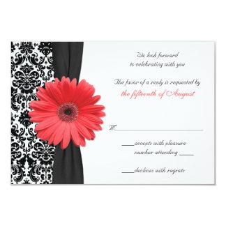 Coral Gerber Daisy Damask Wedding Reply Card REV