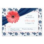 Coral Gerber Daisy Navy Damask Floral Wedding RSVP 3.5x5 Paper Invitation Card