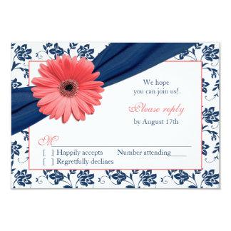 Coral Gerber Daisy Navy Damask Floral Wedding RSVP Card