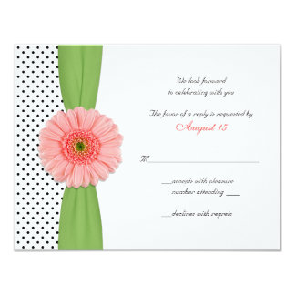 Coral Gerber Daisy Polka Dot Reply Card Personalized Invites