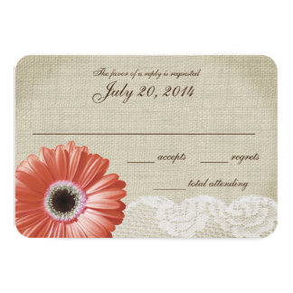 "Coral Gerbera Daisy and Lace Wedding Response Card 3.5"" X 5"" Invitation Card"