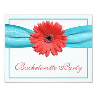 """Coral Gerbera Daisy Aqua Ribbon Bachelorette Party 4.25"""" X 5.5"""" Invitation Card"""