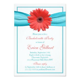 """Coral Gerbera Daisy Aqua Ribbon Bachelorette Party 5"""" X 7"""" Invitation Card"""