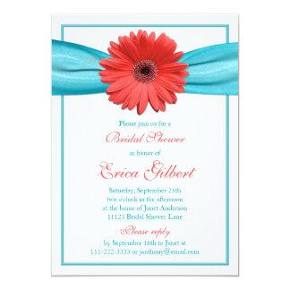 Coral Gerbera Daisy Aqua Ribbon Bridal Shower Card