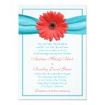 Coral Gerbera Daisy Aqua Ribbon Wedding Invitation