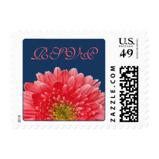 Coral Gerbera Daisy Flower Navy Blue Wedding RSVP Postage